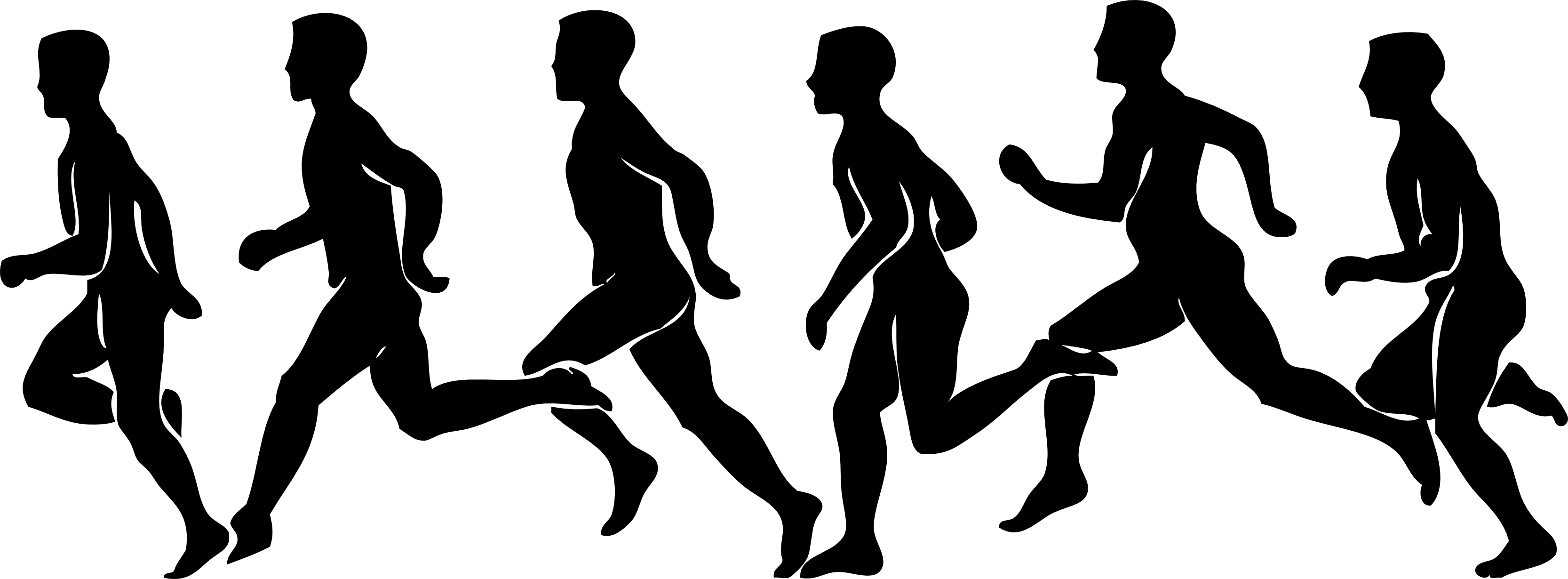 crowd of people running clipart