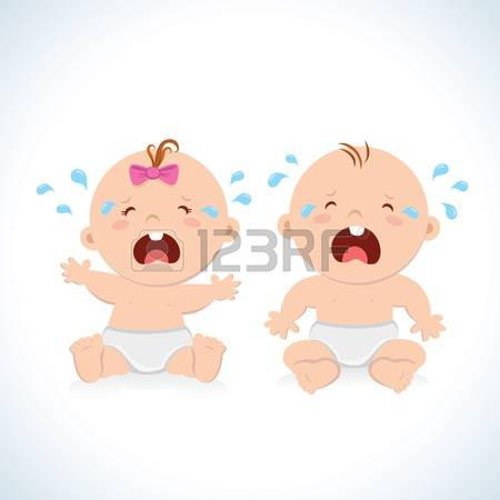 crying baby: Crying baby boy and baby girl Illustration