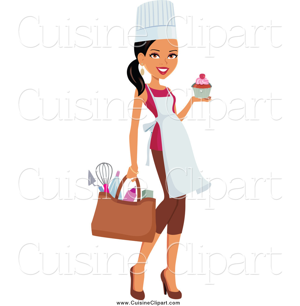 Cuisine Clipart Of A Black Female Chef Carrying Her Gear And A Cupcake