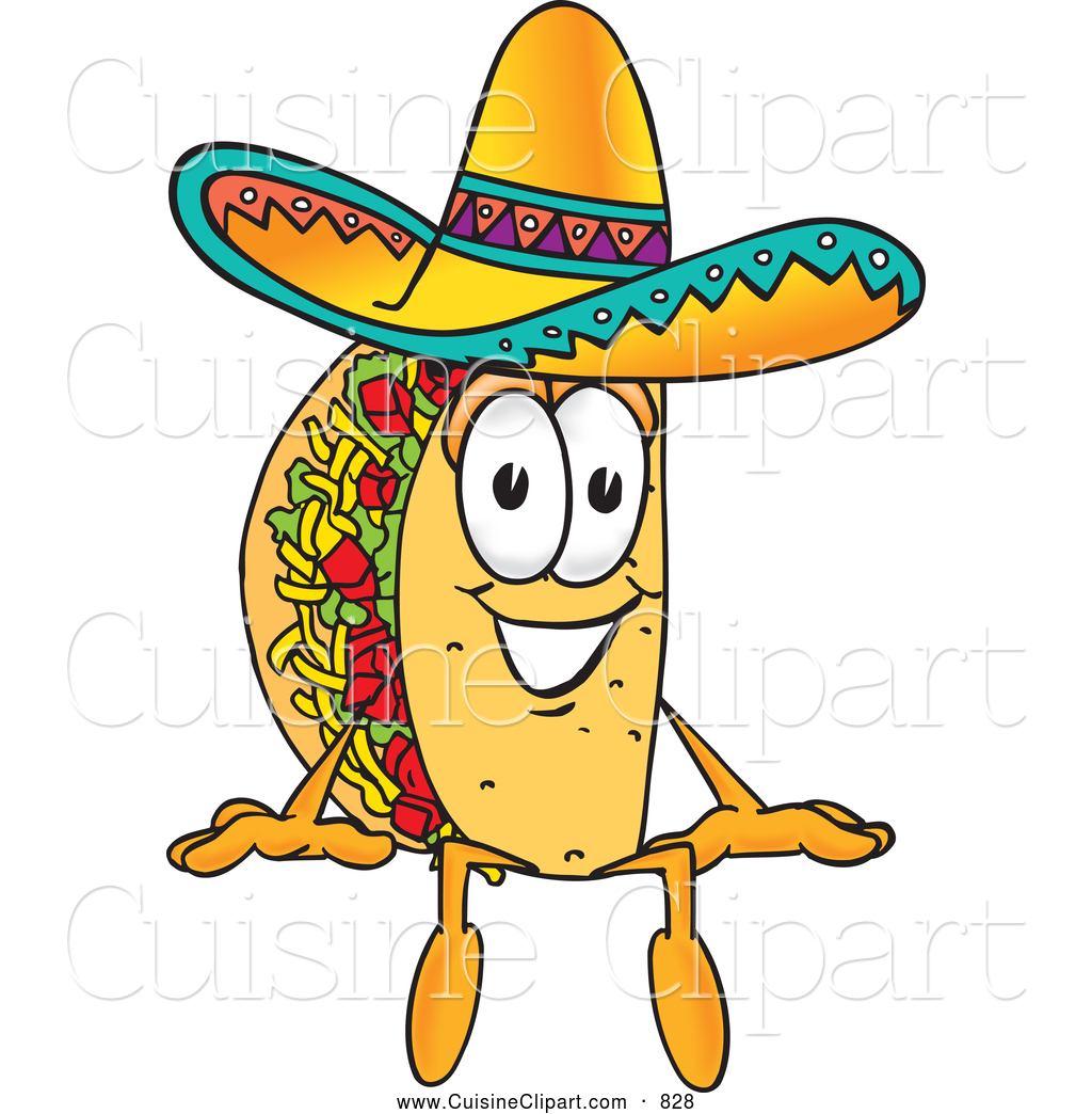 Cuisine Clipart Of A Cheerful - Clip Art Taco