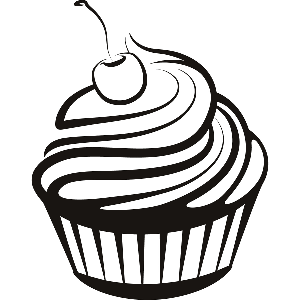 Cupcake black and white cupcake drawings-Cupcake black and white cupcake drawings and cupcakes clipart-16