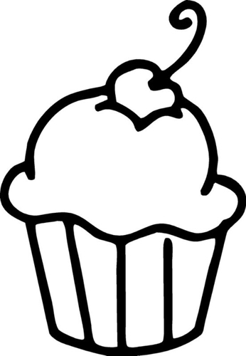 Cupcake Clip Art Black And Wh - Cupcake Clipart Black And White