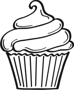Cupcake Outline Clipart Black - Cupcake Clipart Black And White