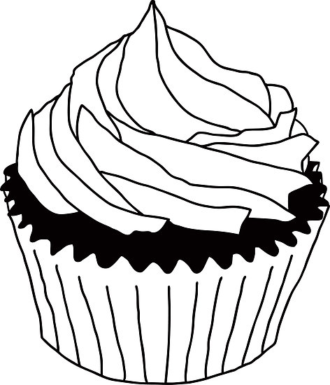 cupcakes clipart black and white-cupcakes clipart black and white-5