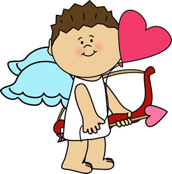 Cupid with Heart Balloon Clip Art