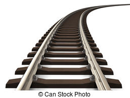 ... Curved railroad track - Single curved railroad track.