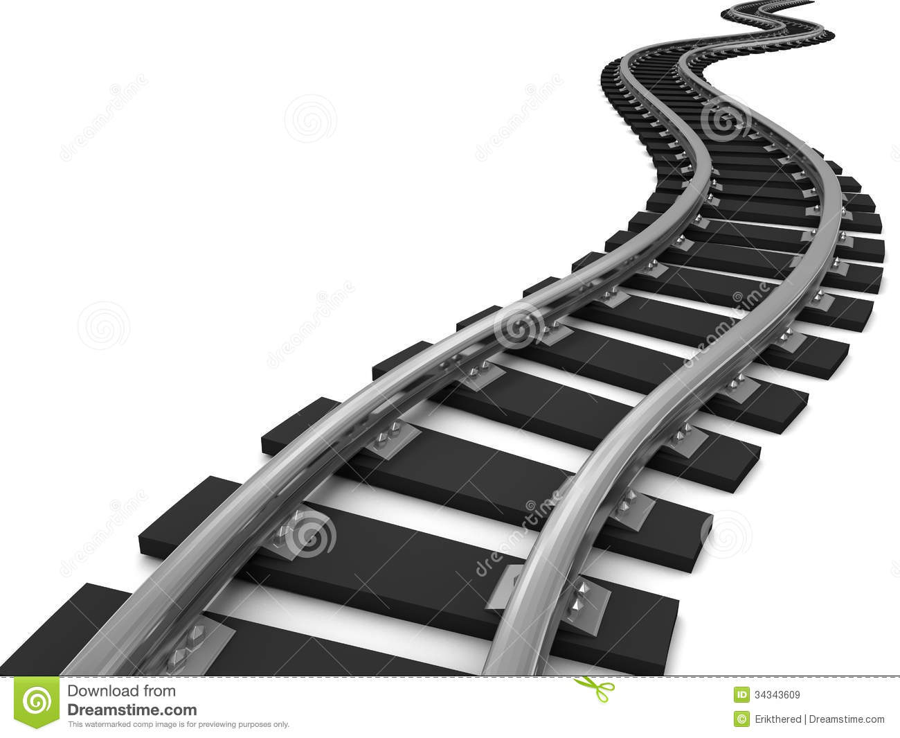 Curved Train Tracks On White Background 3d Illustration