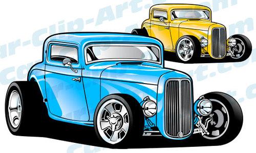 Custom 1932 Ford 3 Window Hot Rod Vector ClipArt