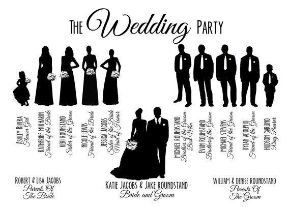 Custom Printable Wedding Party Bridal Pa-Custom Printable Wedding Party Bridal Party Silhouette Wedding-8