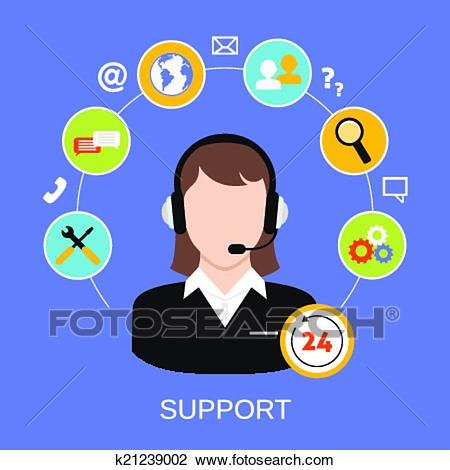 24h Online Worldwide Available Customer -24h online worldwide available customer support helpdesk woman operator  service concept vector illustration-15