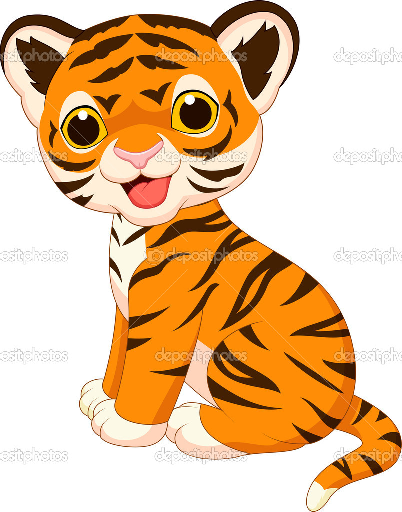 cute baby tiger clipart