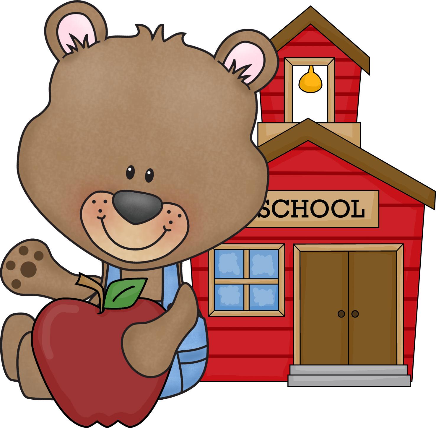 cute school bear clipart