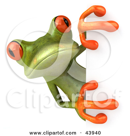 Cute 3d Green Tree Frog Looking Around A White Sign by Julos