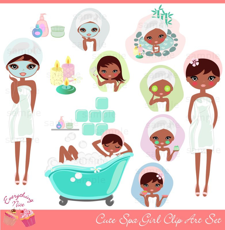 Cute Afro Girl Spa Clip Art Set By 1everythingnice On Etsy