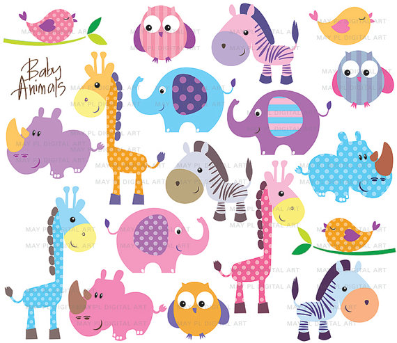 Cute Animal Clip Art Baby Safari Jungle Zoo Animals Clipart Giraffe