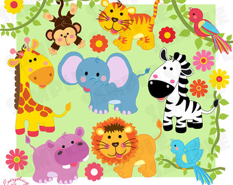 Cute Animals, Jungle Safari Savannah Wild Animals Clip Art Set