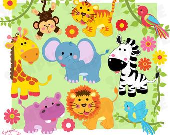 Cute Animals, Jungle Safari Savannah Wil-Cute Animals, Jungle Safari Savannah Wild Animals Clip Art Set-5