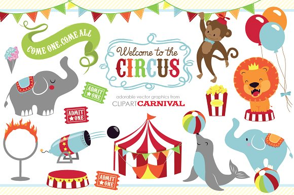 Cute baby circus animals clip art - Illustrations