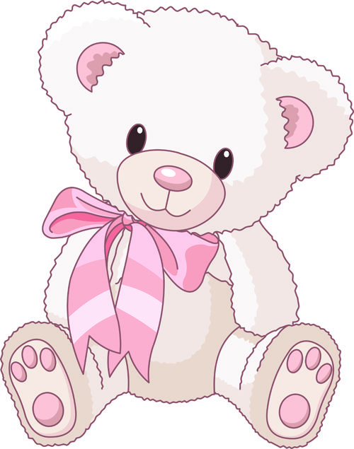Cute Baby Girl Clip Art | Cute Teddy Bear vector Illustration 02 - Vector Animal free