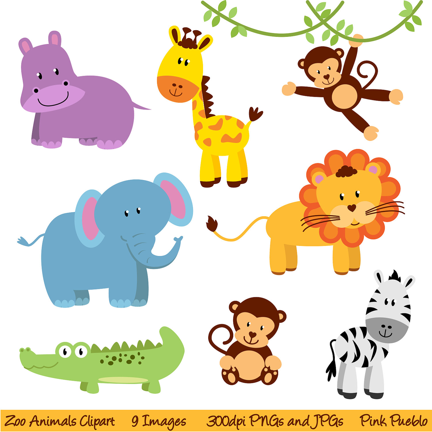 Cute Baby Jungle Animals .
