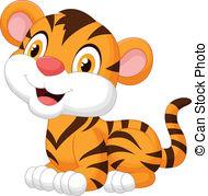 Cute baby tiger cartoon .