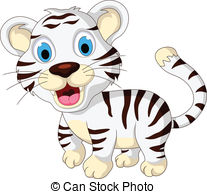 ... cute baby white tiger walking - vector illustration of cute... ...