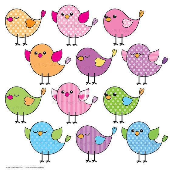 Cute Birds Clipart Clip Art Pink Blue Purple Green Tweet Tweet Downloadable Party Printables DIY Make