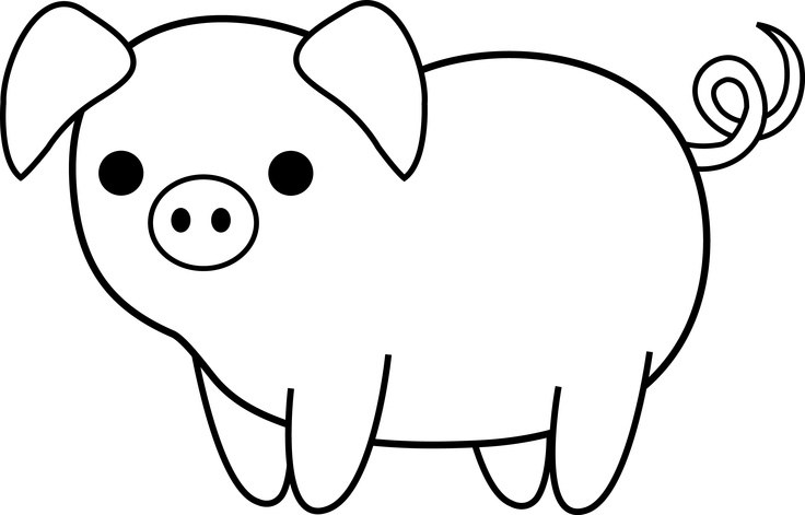 Cute Black And White Pig Clip - Pig Clipart Black And White
