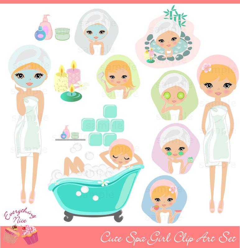 Cute Blonde Girl Spa Clip Art Set-Cute Blonde Girl Spa Clip Art Set-2