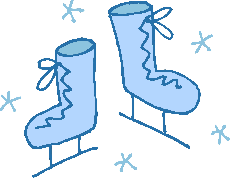 Cute Blue Ice Skates Clip Art