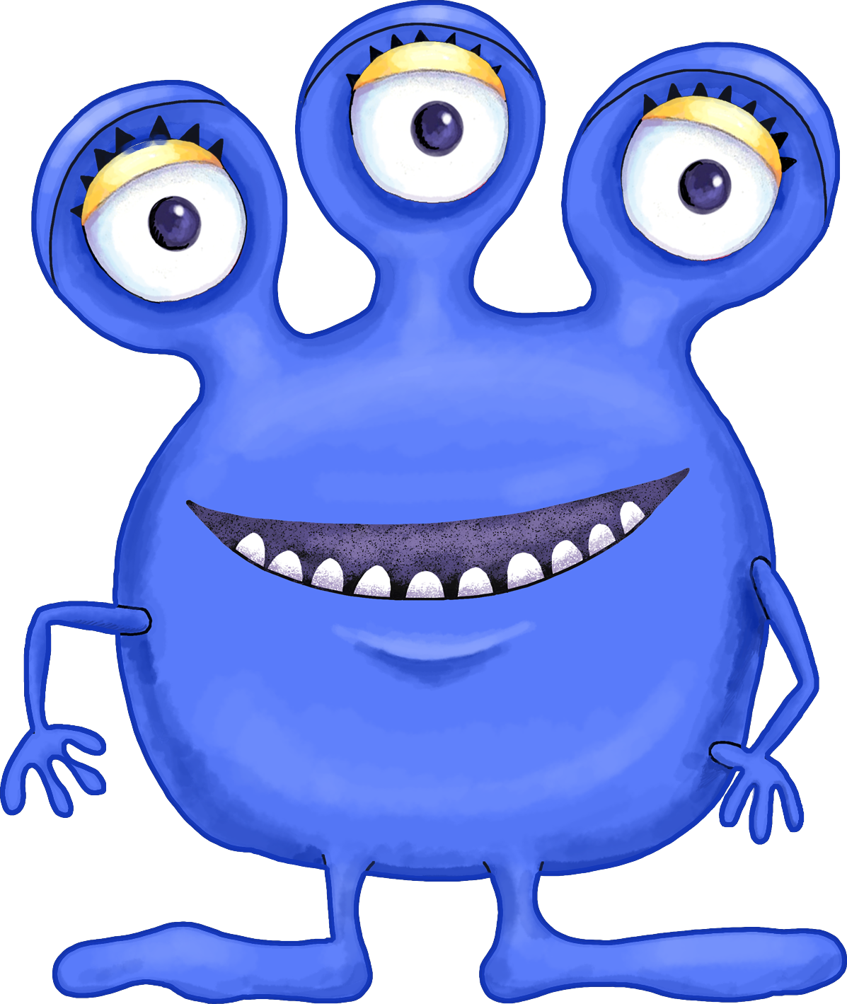 Cute Blue Purple And Green Cartoon Alien Monsters