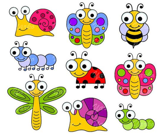 Cute Bugs Clip Art Insects Clipart Ladyb-Cute Bugs Clip Art Insects Clipart Ladybug Snail by YarkoDesign, $3.49-0