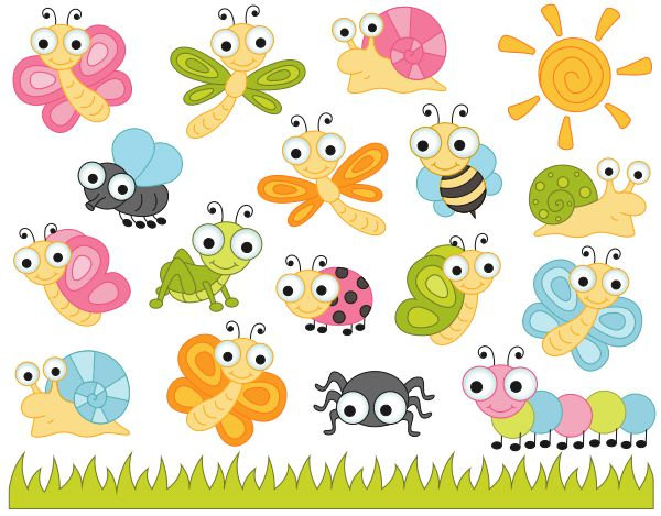 Cute Bugs Clip Art, Insects Clipart, Lad-Cute Bugs Clip Art, Insects Clipart, Ladybug, Snail, Dragonfly, Fly, Bee, Caterpillar, Spider - Instant Download - YDC131-1