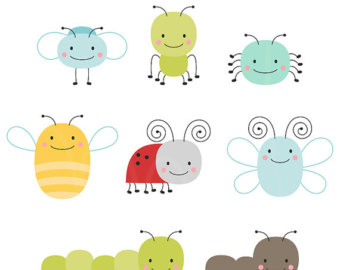 Cute Bugs Digital Clipart Clip Art Illus-Cute Bugs Digital Clipart Clip Art Illustrations - instant download - limited commercial use ok-17
