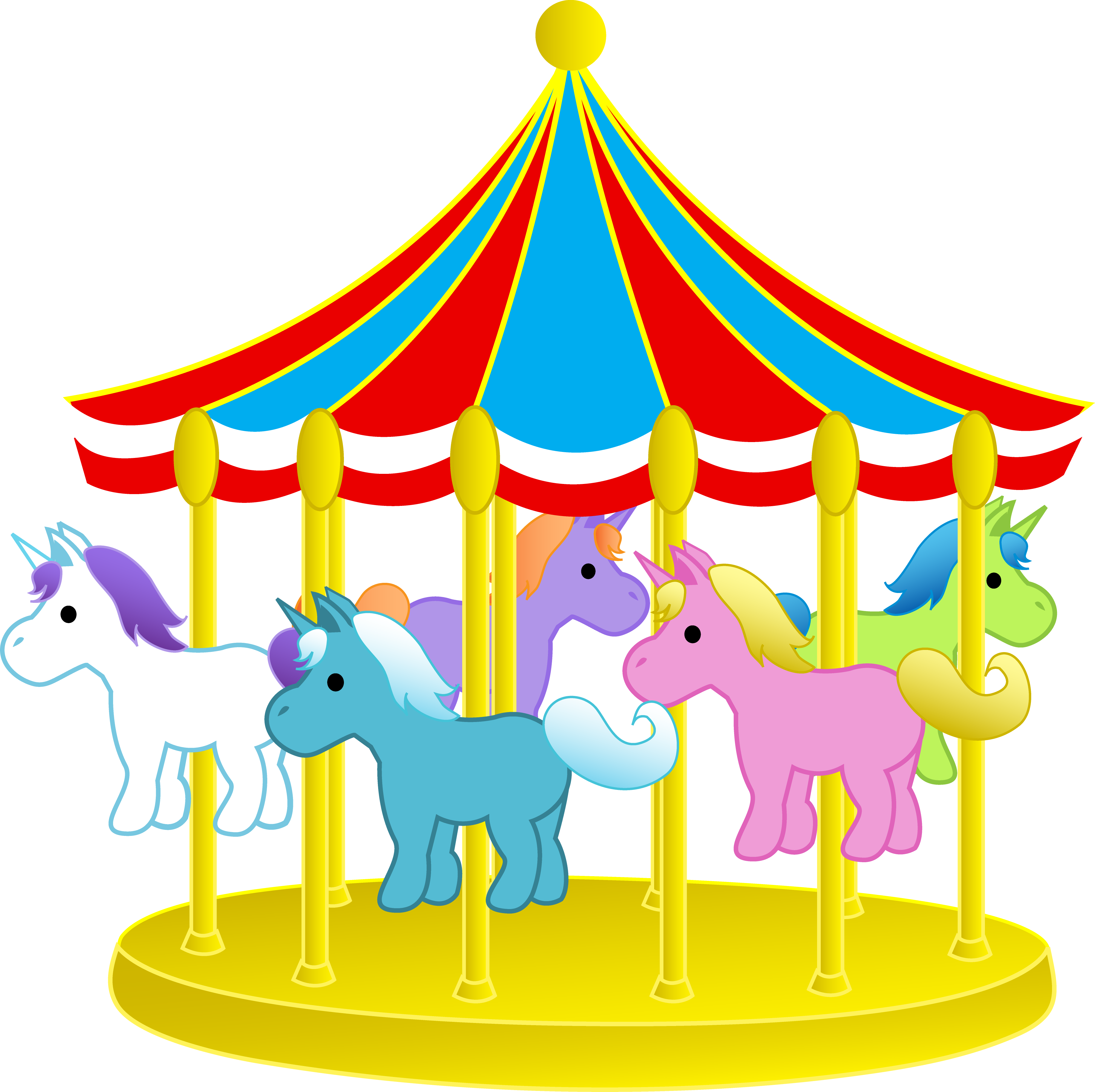 Cute Carnival Carousel With Ponies - Fre-Cute Carnival Carousel With Ponies - Free Clip Art. Amusement Park Clip Art - Clipart-9