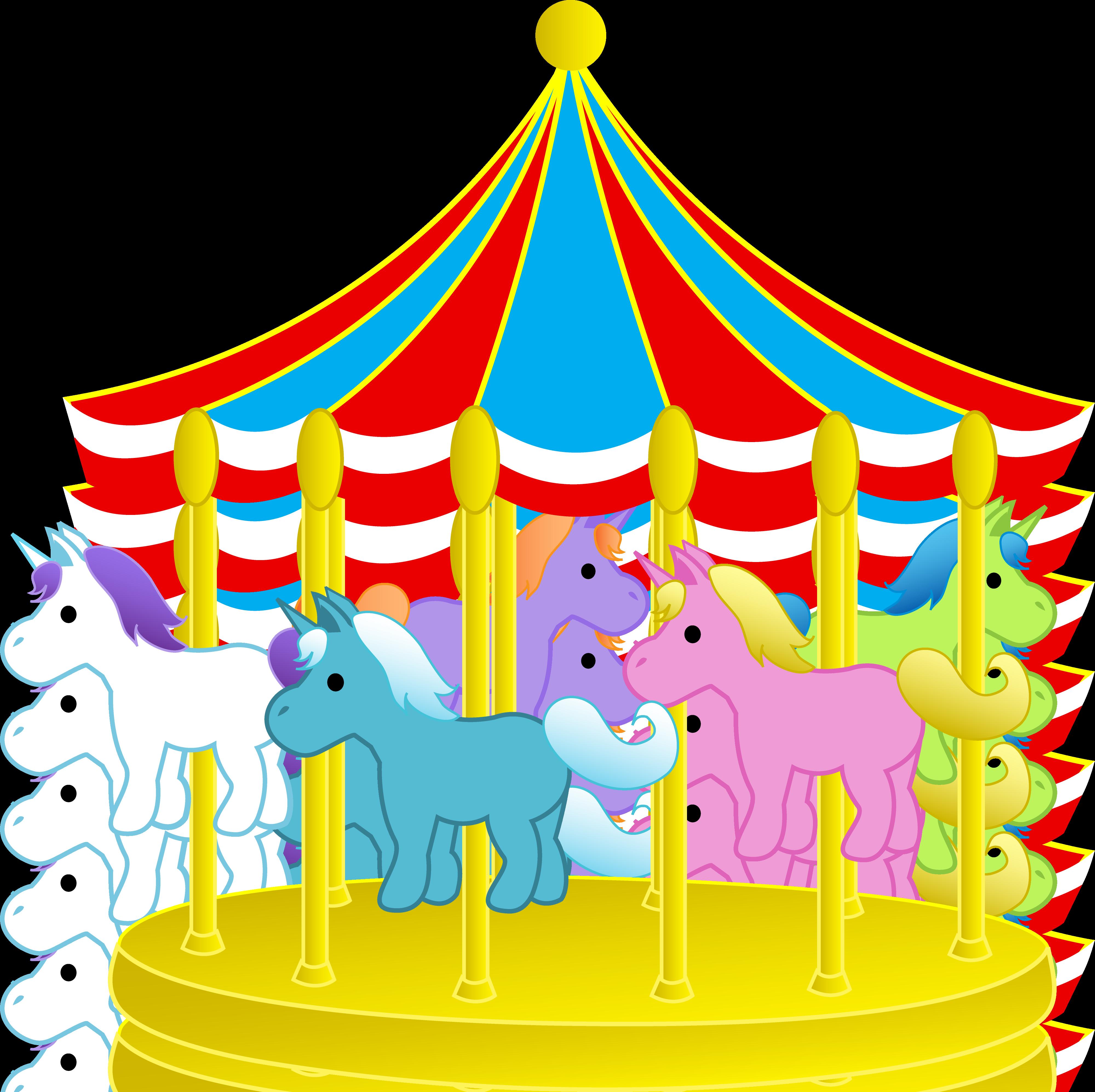 Cute Carnival Carousel With Ponies - Free Clip Art. Amusement Park Clip Art - Clipart