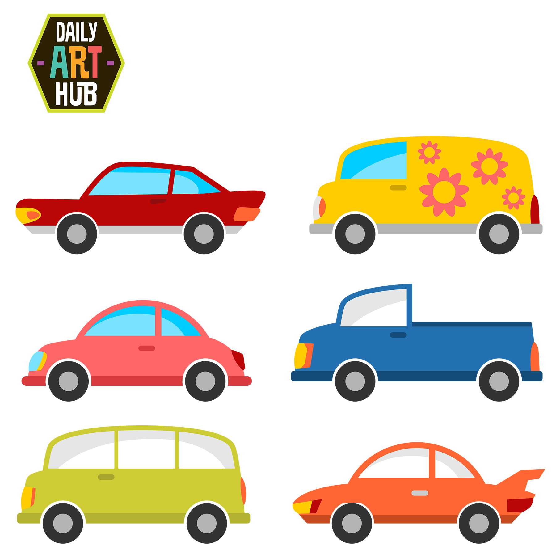 Cute Cars Clip Art Set
