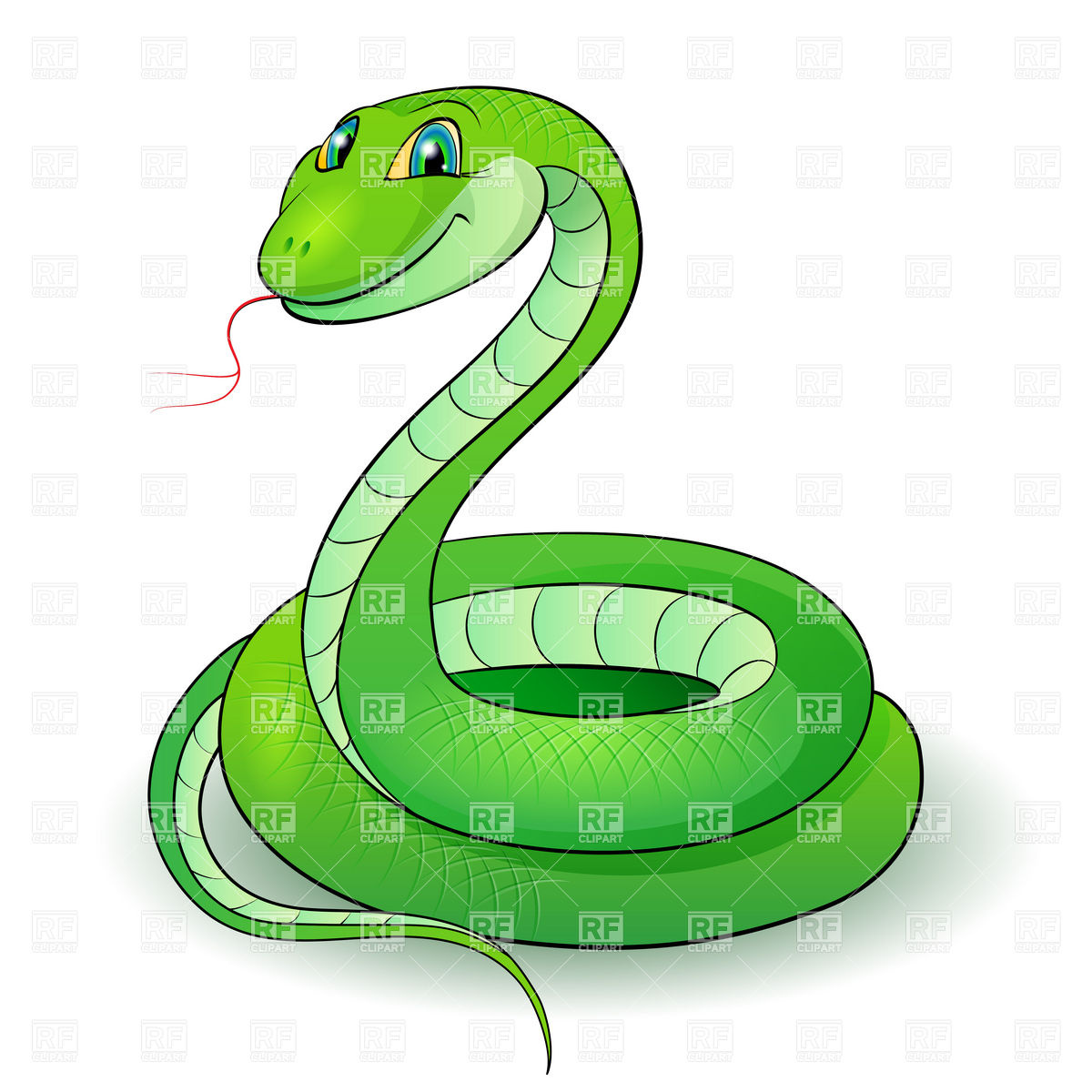 Cute cartoon green snake vector image