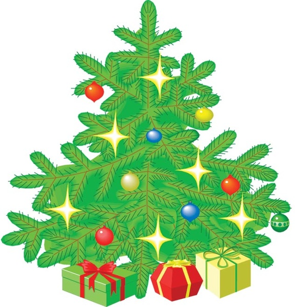 cute christmas gift tree clip art vector