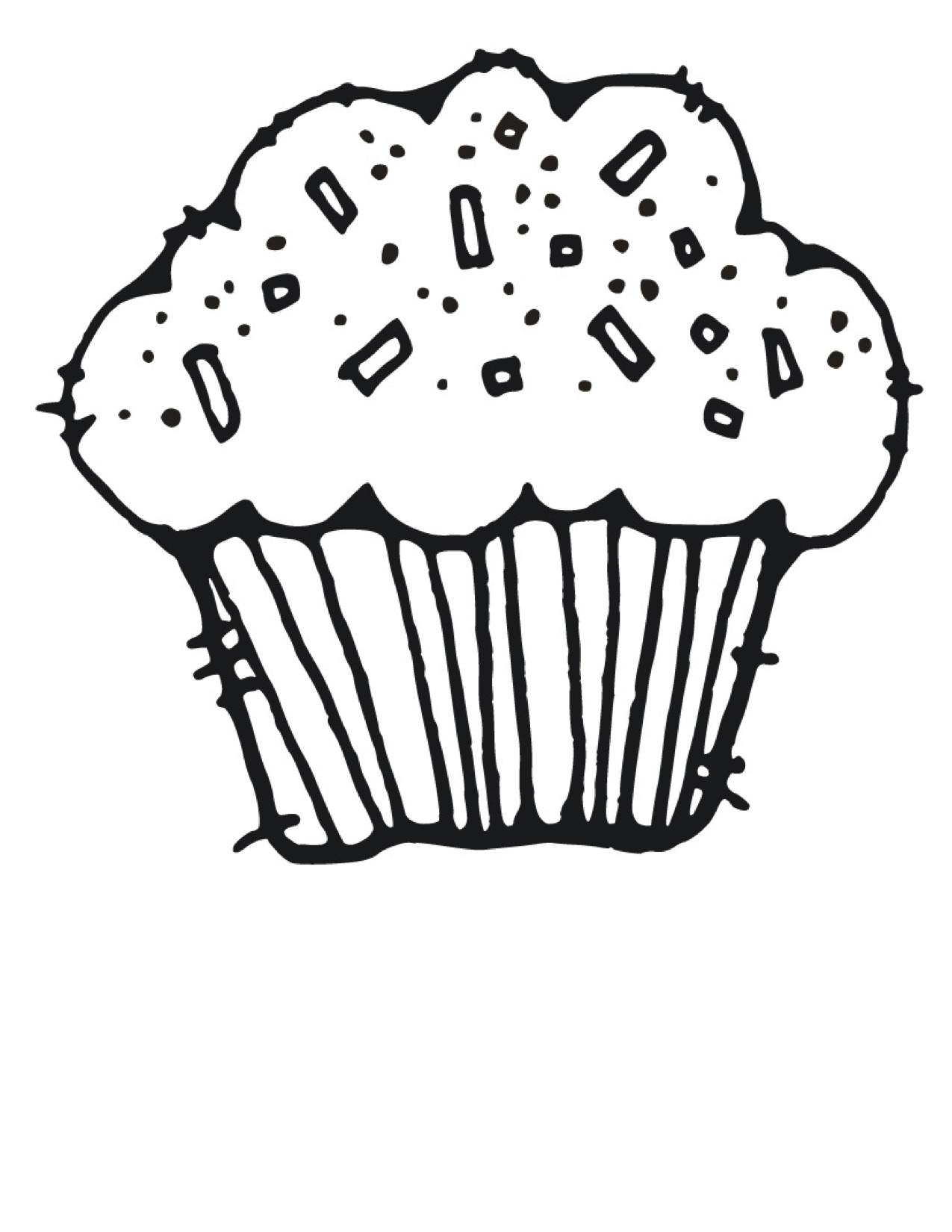 Cute Clipart Cupcakes Black A - Cupcake Clipart Black And White