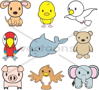 Cute clipart zoo animals - .