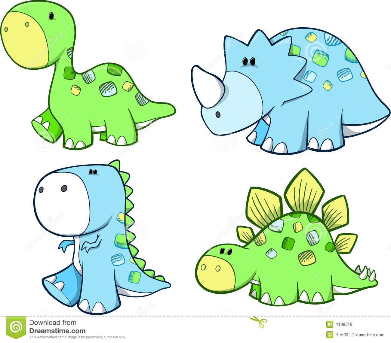 Cute Dinosaur Set Royalty Free .