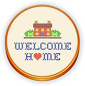 Cute dog sitting on a mat · Embroidery, Welcome Home