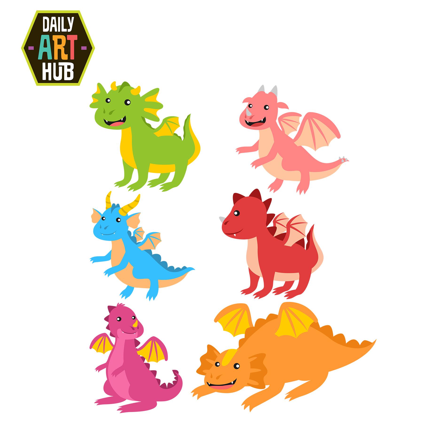Cute Dragons Clip Art Set-Cute Dragons Clip Art Set-9