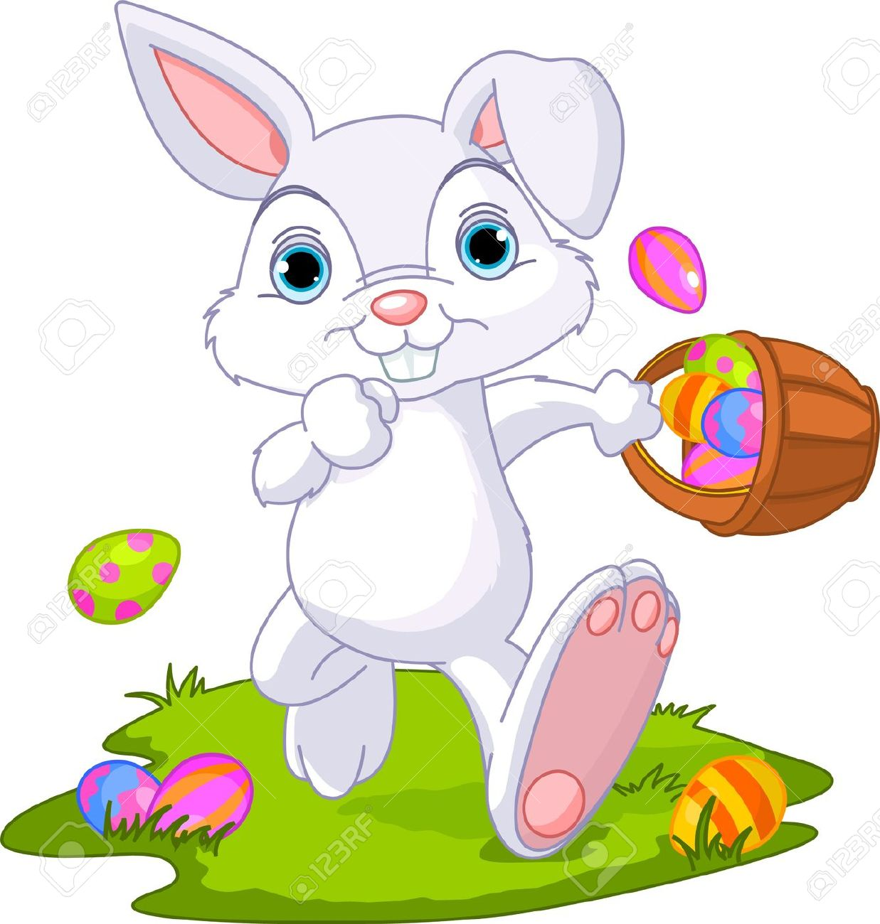 Cute Easter Bunny Hiding Eggs ..