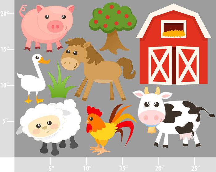 Cute Farm Animals - BUY 2 GET - Free Farm Animal Clipart