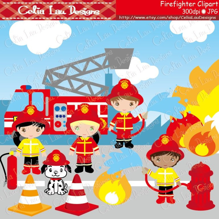Cute Firefighter Clipart, Fireman clip a-Cute Firefighter Clipart, Fireman clip art (CG035), Firefighter Kids and dog, Fire Truck for Personal and Commercial Use / INSTANT DOWNLOAD-15