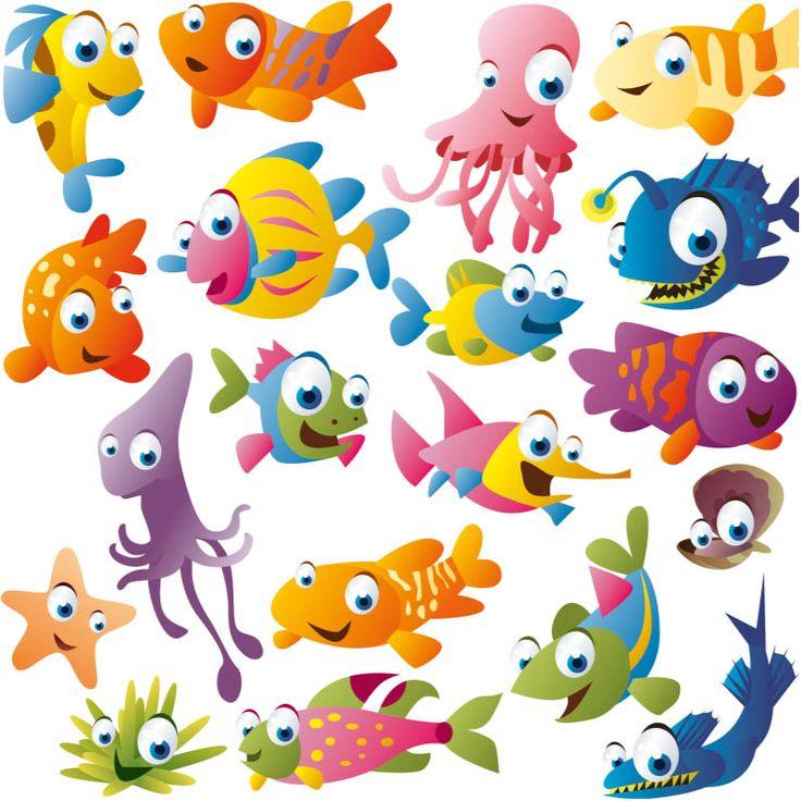 cute fish clipart. Funny cartoon fish vector .