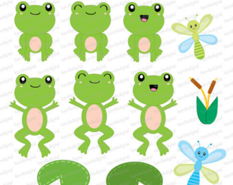 Cute Frogs - Clip Art U0026amp; Digital -Cute frogs - clip art u0026amp; digital paper set - Personal and commercial use-5