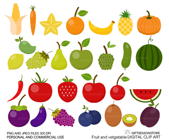 Cute fruits and vegetables .